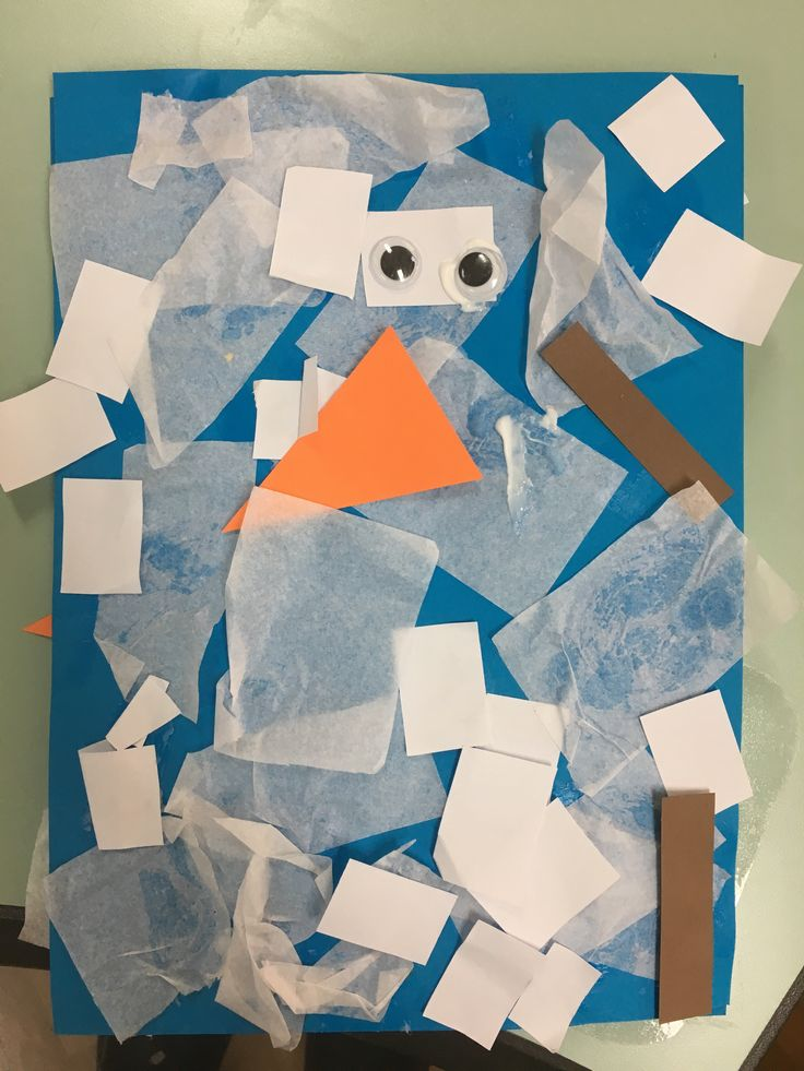 """Continuing with our """"Four Seasons"""" theme this week! This one is our winter craft! Mr Melty! You may need: Blue construction paper (background) White tissue paper (cut into small squares…"""
