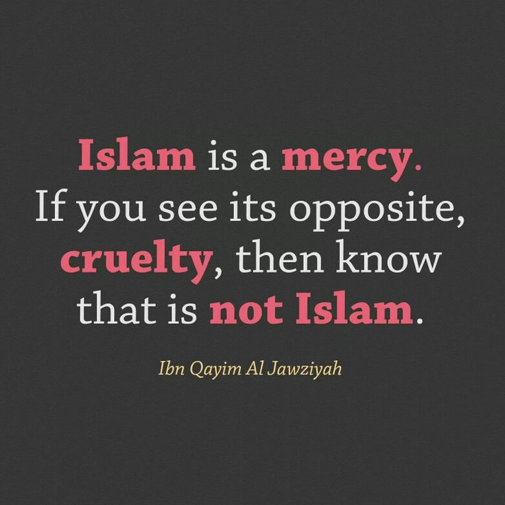 Islam is a mercy. If you see its opposite, cruelty, then know that is not Islam. Ibn Qayyim