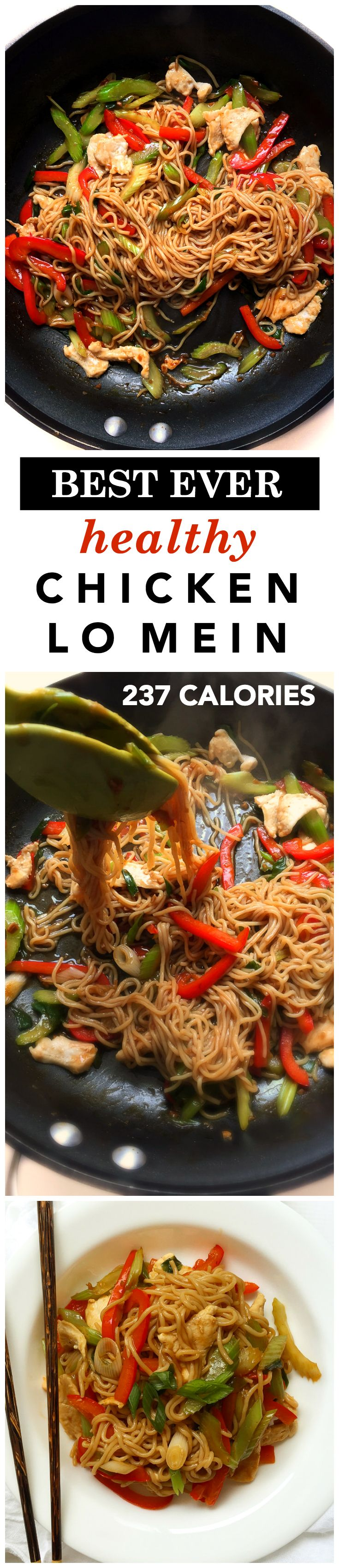 The best healthy chicken lo mein recipe (237 calories)! It's easy, quick, and so good you won't need to order takeout!