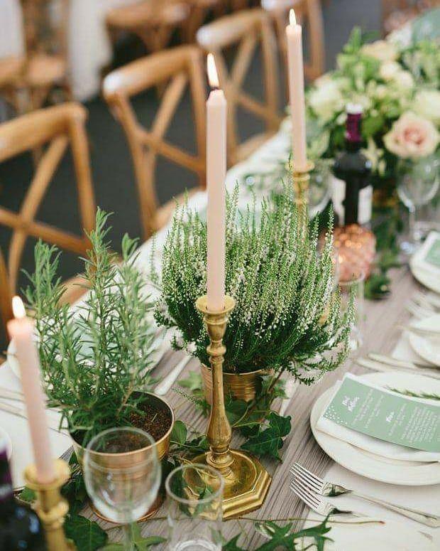 A Moze By Tak Slub W Duchu Zero Waste Kwiaty Doniczkowe I Ziola Ktore Pieknie Dekoruja Stoly A Jednocz Wedding Table Botanical Wedding Table Decorations