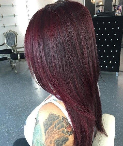 Mahogany Hair Color Inspiration A dark rich blend of red and purple give a saturated mahogany hue which is based on the dark reddish brown with a smaller amount of violet added to