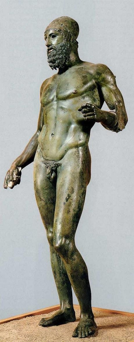Riace Warrior, Classical Greece, 450 B.C. Discovered August 16, 1972 about 300 meters off the coast or Riace. near Reggio Calabria, ITALY.