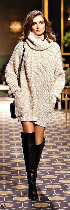 Women Turtleneck Sweater Winter oversized Pullovers Casual Long Knitwear With Pocket - On Trends Avenue