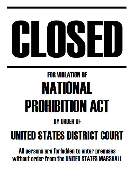 closed for violation of prohibition speakeasy decorations