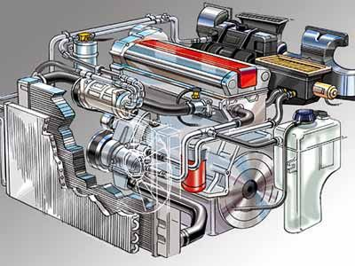 technical illustration of a automotive heating/AC system by illustrator Bruce Kaiser