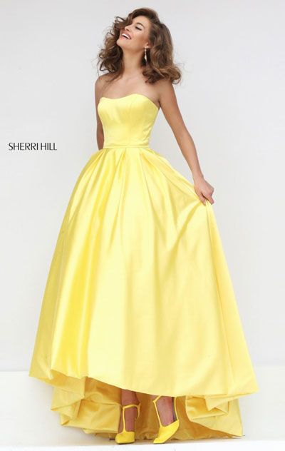 Sherri Hill 50226 Satin Long Pleated Prom Dresses Straight Neckline 2016 Strapless Yellow