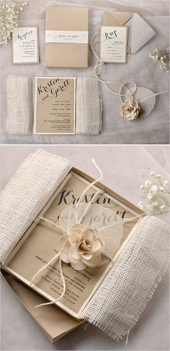 Shabby chic wedding invitations. Stationery By: For Love Polka Dots --- http://www.weddingchicks.com/2014/05/27/rustic-wedding-must-haves/