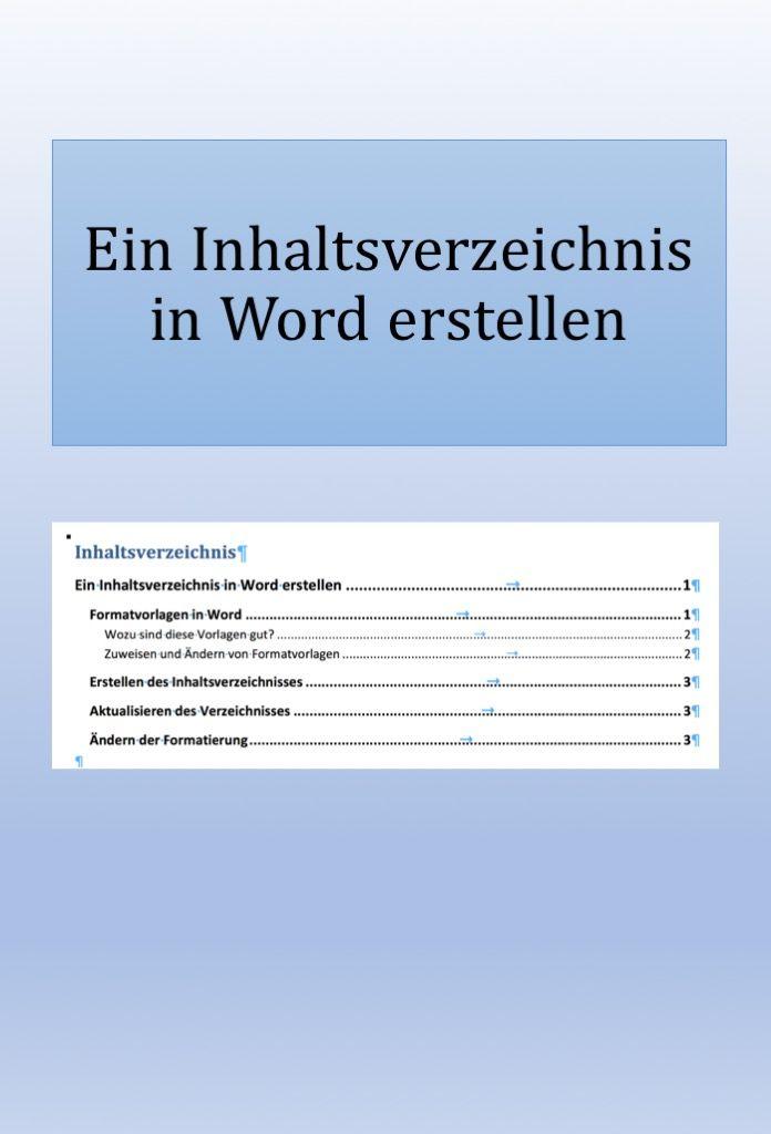 Ein Inhaltsverzeichnis In Word Erstellen Inhaltsverzeichnis Erstellen Inhaltsverzeichnis Excel Tipps
