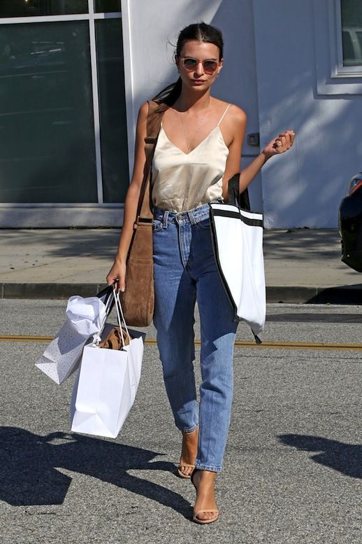 Emily Ratajkowski's LA cool girl look with high waisted boyfriend jeans and a silky slip top