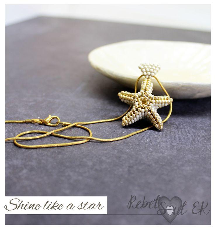 sea star pendant, beach pendant, sea star jewelry, starfish necklace, seashore neckpiece, Seed Bead Starfish, golden pendant