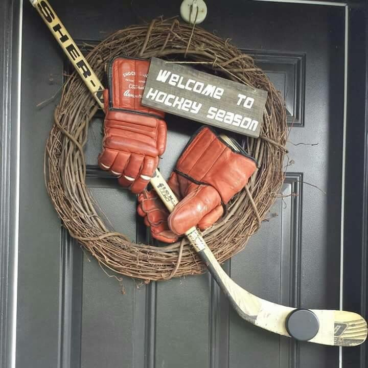 Hockey Gloves, Stick, Puck Display & Decor. Sporty wreath!