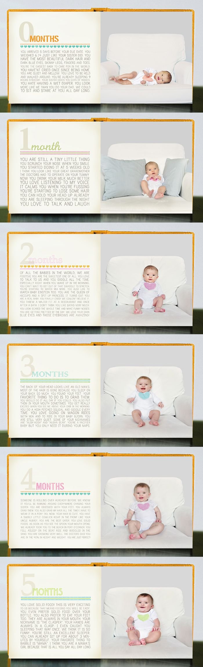baby memory book -- use a photo album and put a pic of the child on one side and write a few paragraphs about what they were like at that age, accomplishments, etc.