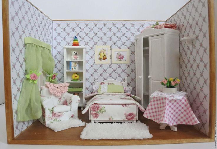 """Купить Румбокс Детская комната """"Нежность"""" в стиле Шебби Ручная работа - кукольная миниатюра"""