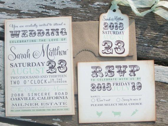 vintage wedding invitation typography invitation  by anistadesigns