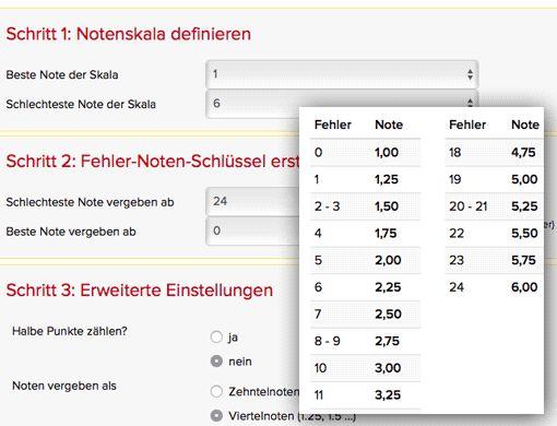 Fehler-Noten-Rechner online (z.B. für Vokabeltests, Diktate) mit Excel-Download • Lehrerfreund