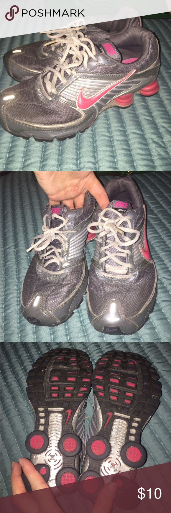 Nike shocks! Selling Nike shocks , they are in used condition with wear, but I have never washed them . I'm sure they will clean up nicely . Size 8.5 Nike Shoes Athletic Shoes
