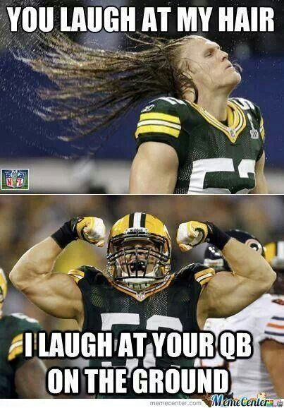 Clay Matthews hair humor | Green Bay packers. Not a fan of Green Bay but its funny!