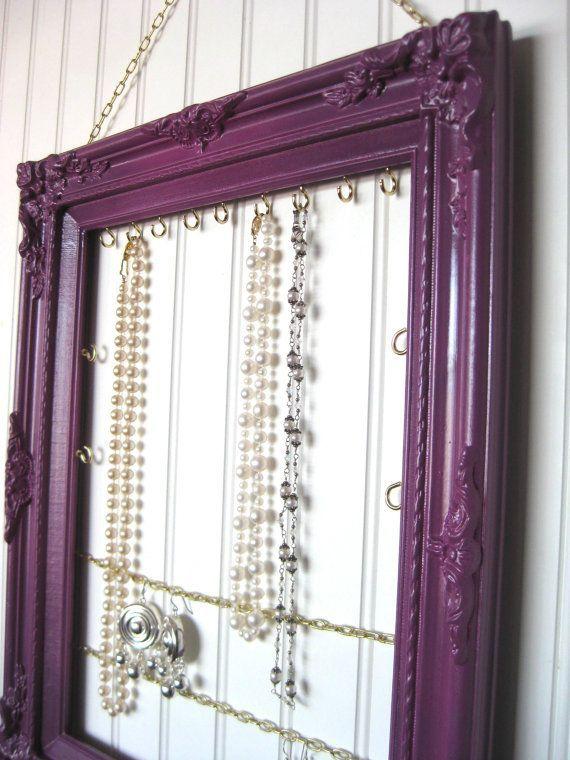 Hanging Jewelry Display  Organizer Necklace Display Plum Decor  Wood Frame  Earring Display  Bracelets Closet Organizer  Bedroom Dorm Decor...