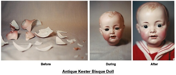 Repaired Bisque doll