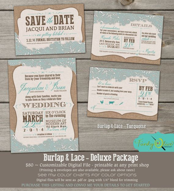 Burlap Lace Invitation Shabby Chic Save The Date Rsvp Wedding Shower Diy Country Turquoise Charcoal Mint Julep Rose Deluxe Package
