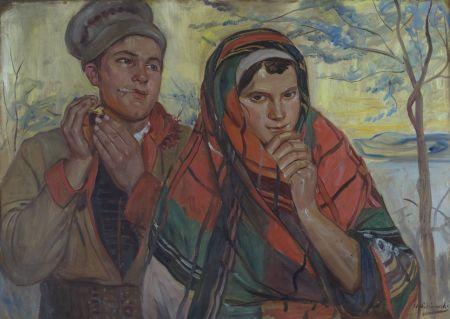 Wincenty Wodzinowski (Polish, 1866-1940) Para w strojach krakowskich/Couple in folk costumes of Krakow