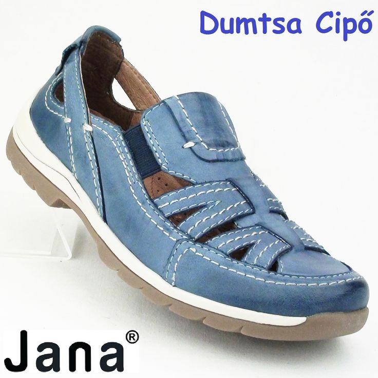 """Cikkszám: 8-24621-24 802 kék  Nagyon jó minőségű bőrből készült a könnyű,  szellős, tavaszi/nyári bőr cipő a Jana kollekciójából. A rüsztnél beépített gumibetét biztosítja a tökéletes illeszkedést a lábfejhez. A bőr cserzésénél kizárólag növényi eredetű anyagokat használtak. A cipő bőr talpbélése kivehető. A modell """"H"""" szélességű, ezért szélesebb lábfejre ajánljuk.  anyaga:  felsőrész: bőr  belsőrész: bőr  talp: szintetikus  sarokmagasság:2,5 cm  szín: kék  Ár: 22 990 Ft"""