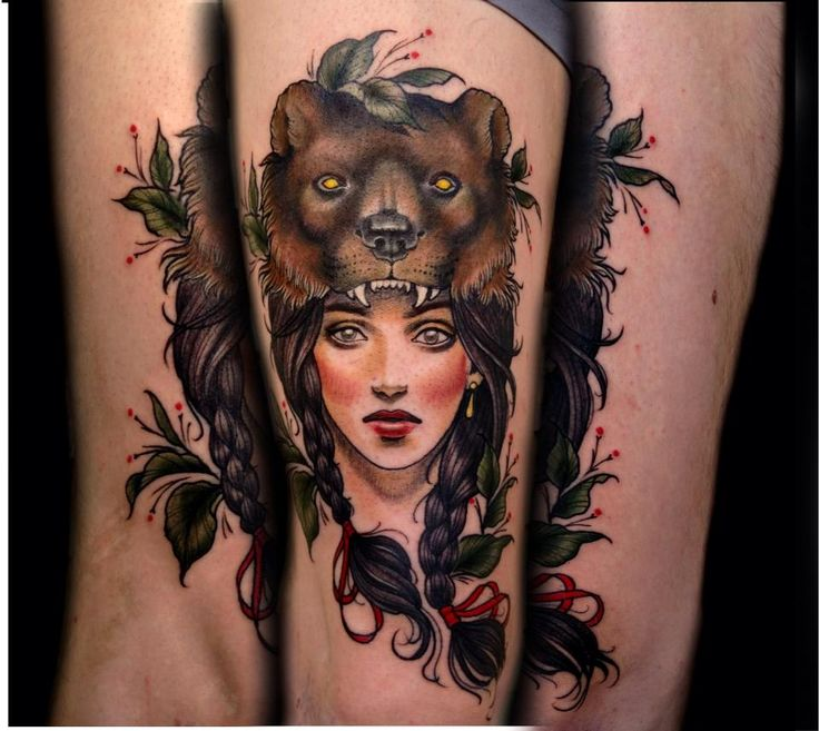 I am in love with my new tattoo! Beautiful bearskin girl by Samantha Smith Tattoo Co, Richmond, BC.