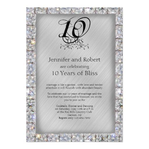 die besten 25+ 10yr wedding anniversary ideen auf pinterest | 30, Einladung