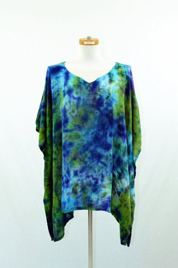 Tie Dye Poncho, Women's Poncho, Maternity Top, Oversized Tunic, Beach Cover, Hippie Clothes
