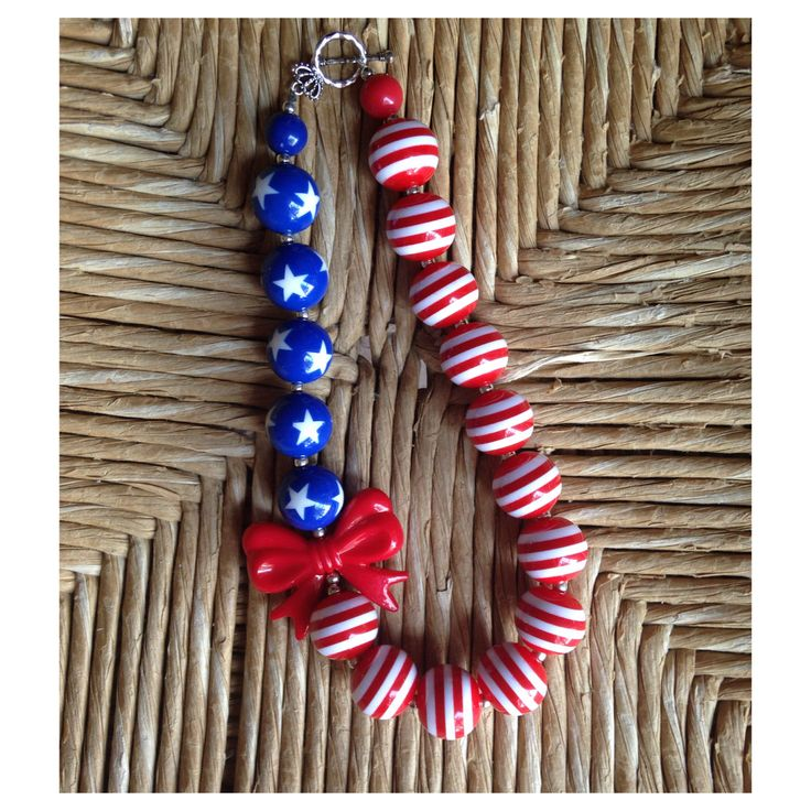 Girls Patriotic Beaded Necklaces . Get iuspired and make one today. It is easy! Get your DIY supplies and tutorials at www.fizzypops.com.