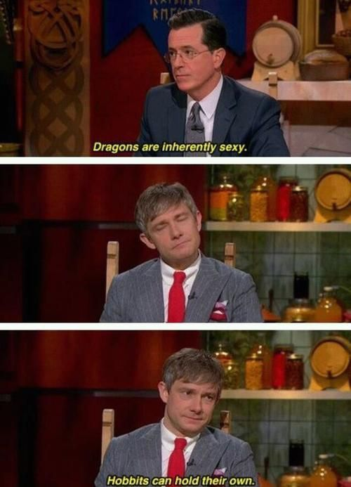 Best part is I totally get this ! Benedict (Sherlock) is the voice of smaug in the hobbit, while Martin also plays Watson in Sherlock .