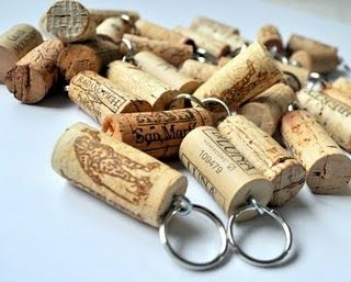 Make key chains from corks.  #repurposed #wine #corks