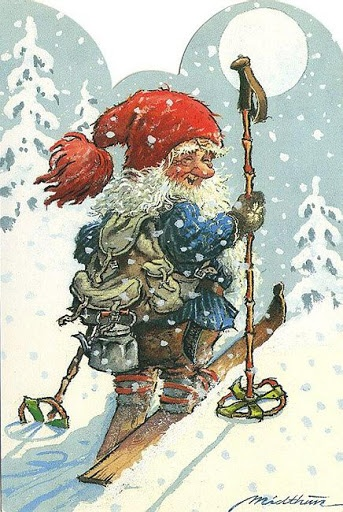 Just a happy gnome going skiing. (Aritst: Kjell Midthun.)