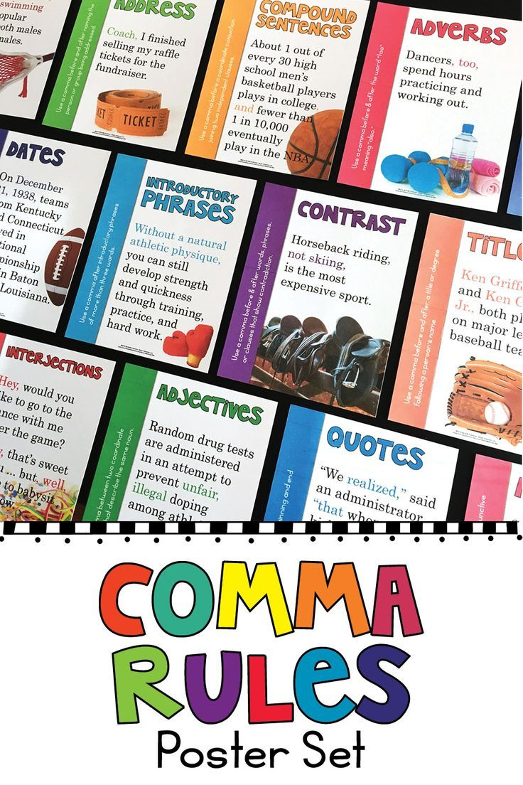 Create a colorful and educational bulletin board or an engaging sports themed hallway display with these posters for comma usage rules. Each poster includes one punctuation guideline for when to use a comma and a high interest mentor sentence example. The