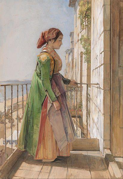 John Frederick Lewis - A Greek Girl Standing on a Balcony 1840