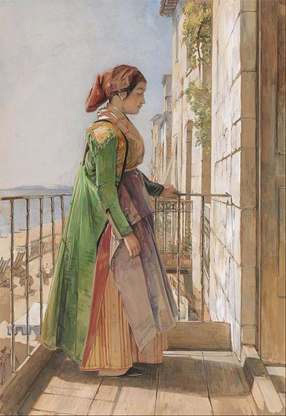 John Frederick Lewis - A Greek Girl Standing on a Balcony. 1840.Watercolor and gouache over graphite on off-white wove paper, laid down on contemporary mount. Yale Center for British Art, Paul Mellon Collection