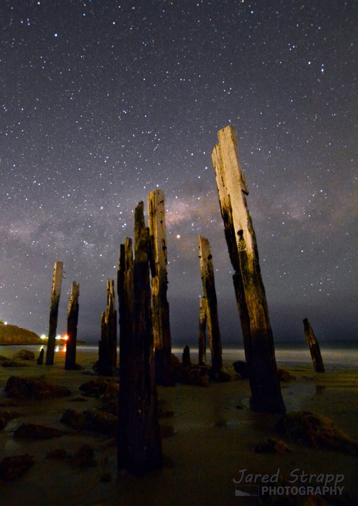 Night Sticks - Port Willunga, South Australia. Old jetty ruins.
