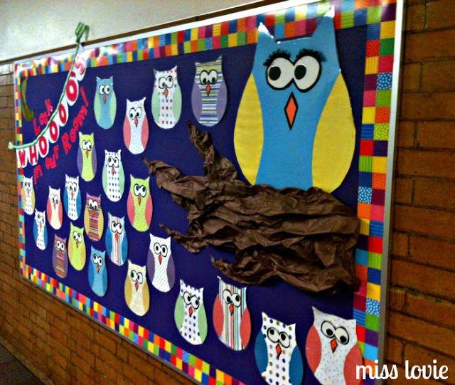 preschool owl bulletin board | Miss Lovie: Owl Bulletin Board and Scallop Bunting Tutorial