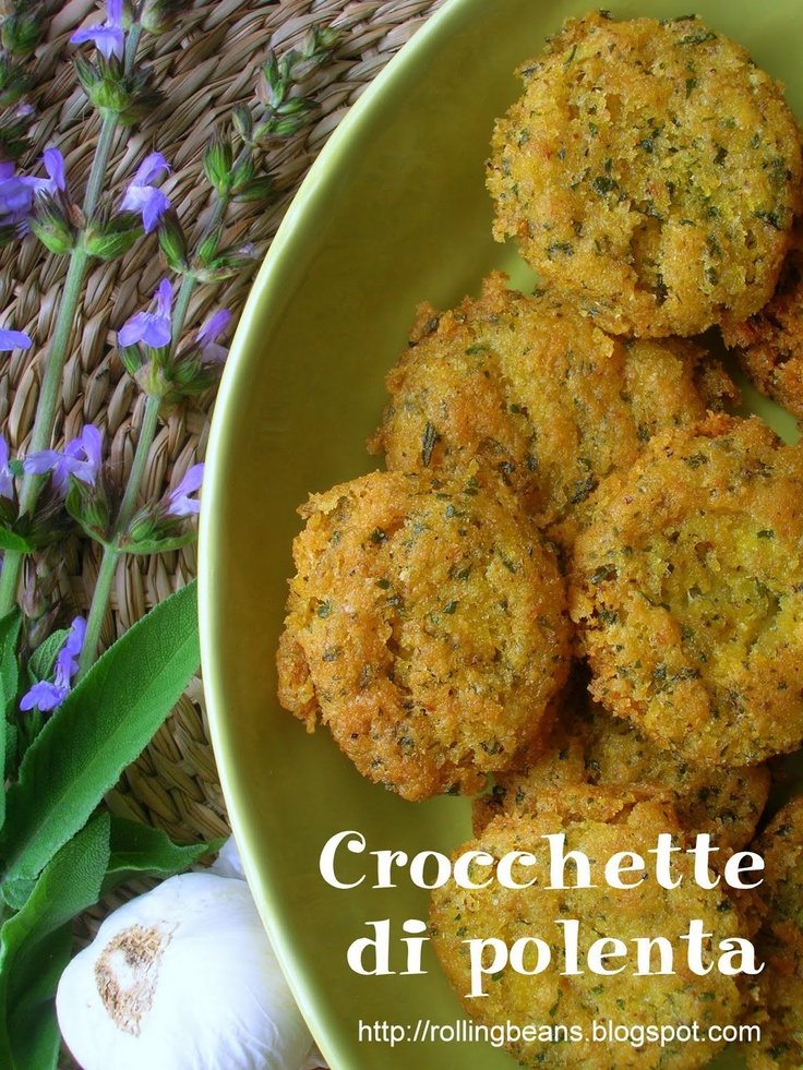 Crocchette di polenta / Leftover polenta croquettes     This is the basic recipe, if I may say so, to reuse the leftover polenta and make tasty croquettes to be served as an appetizer or finger food. I call it basic recipe because you can add various ingredients depending on your taste and  your diet (vegetarian,  vegan or omnivore).....