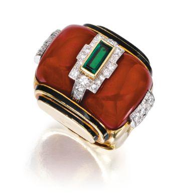 David Webb,18K Yellow Gold, Coral, a Baguette Cut Emerald, Brilliant Cut Diamonds and Black Enamel Ring, ca. 1975  (BB)