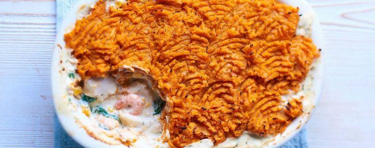Sweet potato topped fish pie