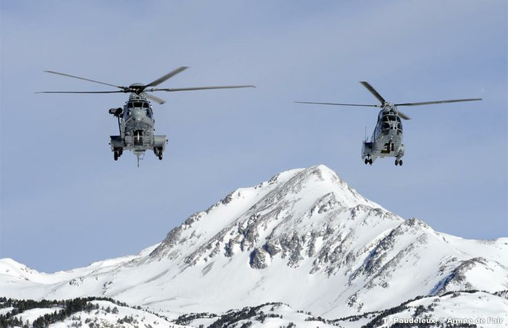 """The crews of a French Armée de Terre Caracal and two Puma helicopters of l'escadron d'hélicoptères 1/67 """"Pyrénées"""" Cazaux went to the Pyrenees-Orientales for a mountain flying course from 10 to 14 February 2014."""