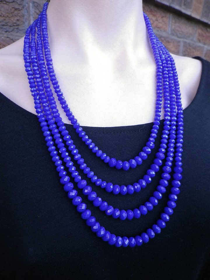 4 Strand Blue Crystal Necklace