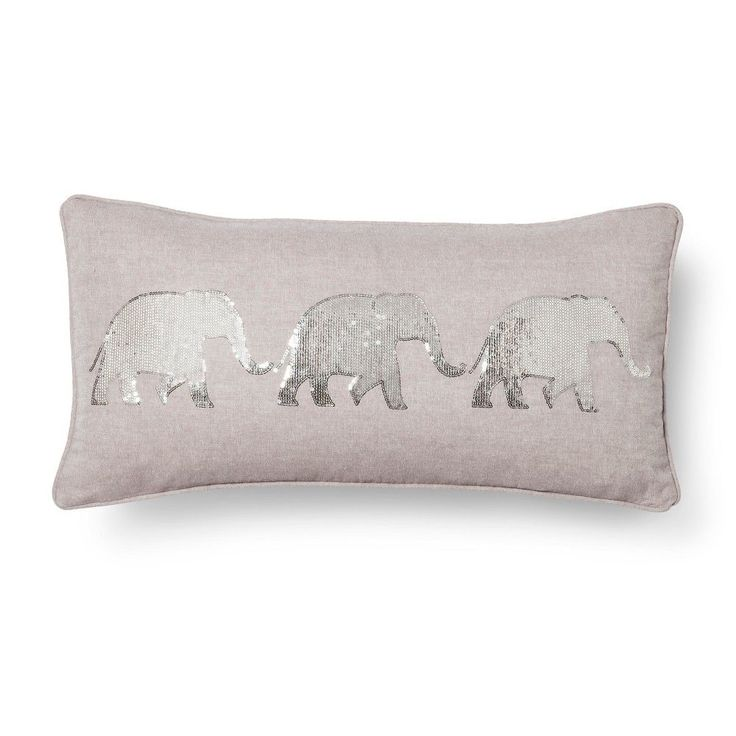 Mudhut Elephant Decorative Pillow - Gray (Square)