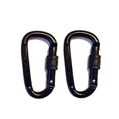 NEW 18KN Carabiner Clip Set 2 Pack Locking D-Ring with Heavy Duty Steel Alloy #CarabinerClip