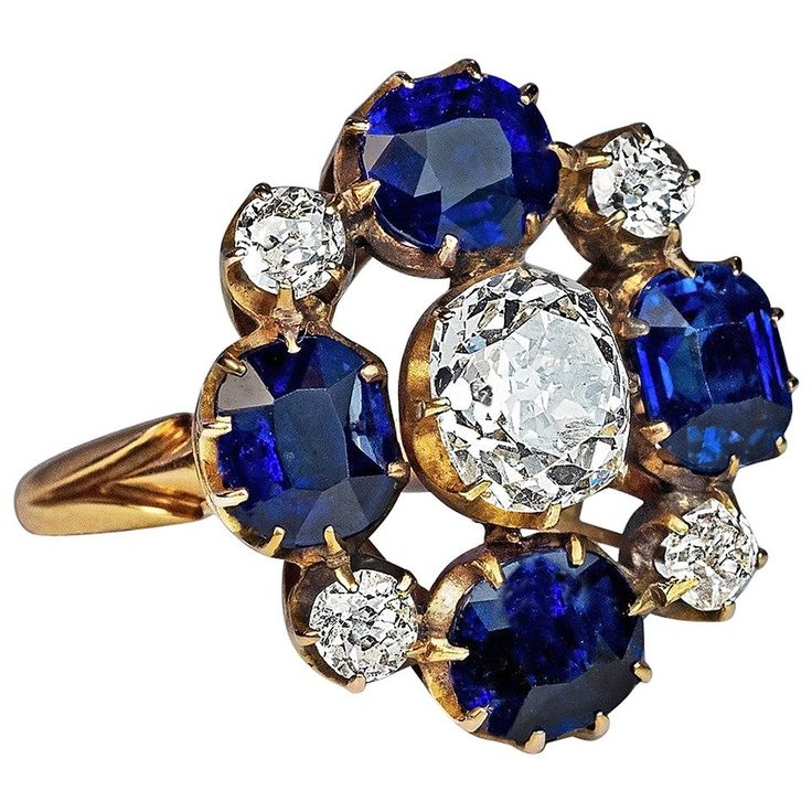 Russian Imperial Era Antique Sapphire Diamond Gold Cluster Ring