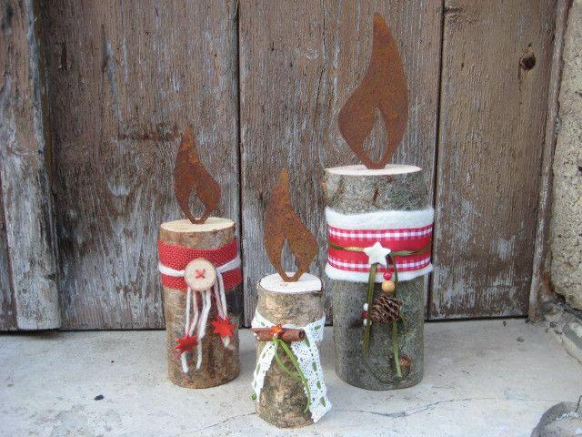 Deko-Objekte - Dekorierte Holzkerze mit Rostflamme - ein Designerstück von Ria-Freund bei DaWanda