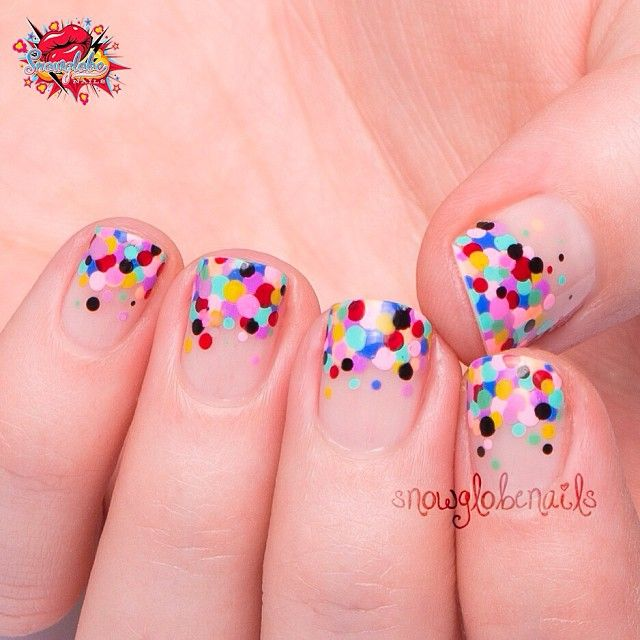 """Was inspired by a design from I Scream Nails for this one! Negative space confetti nails! Theyre so easy to do and such a cool effect! Finished with…"""