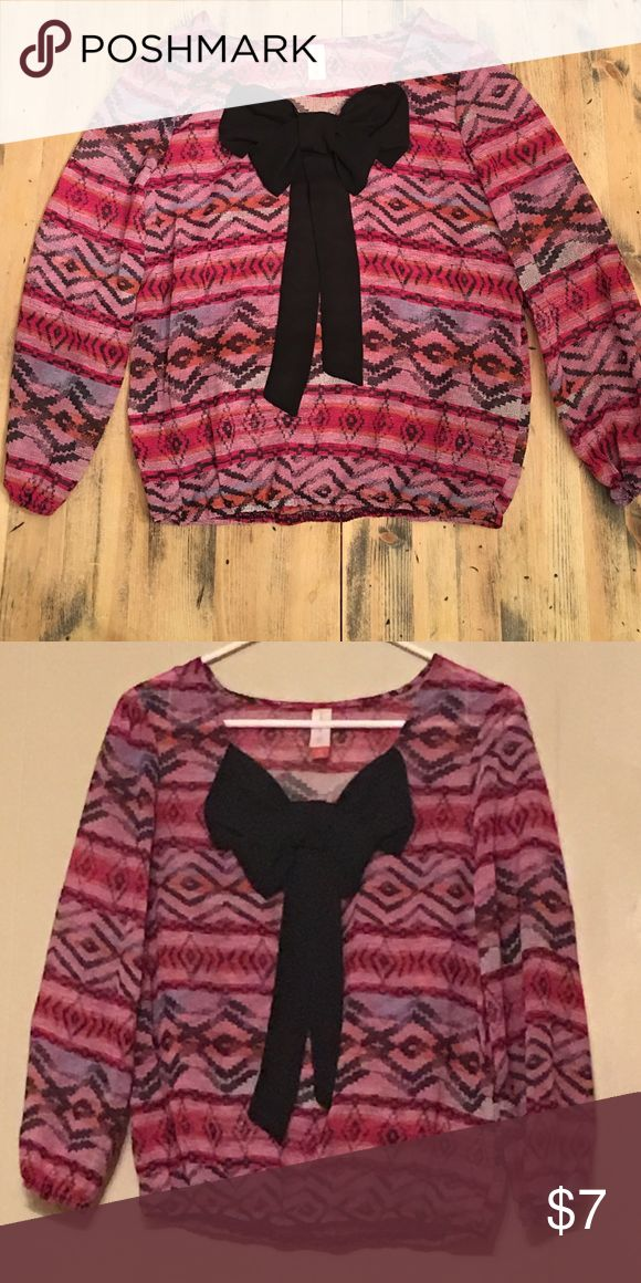 Sheer Blouse with Bow Multi-coloured top with cute black bow. Sheer fabric with cinched sleeves. No Boundaries Tops Blouses