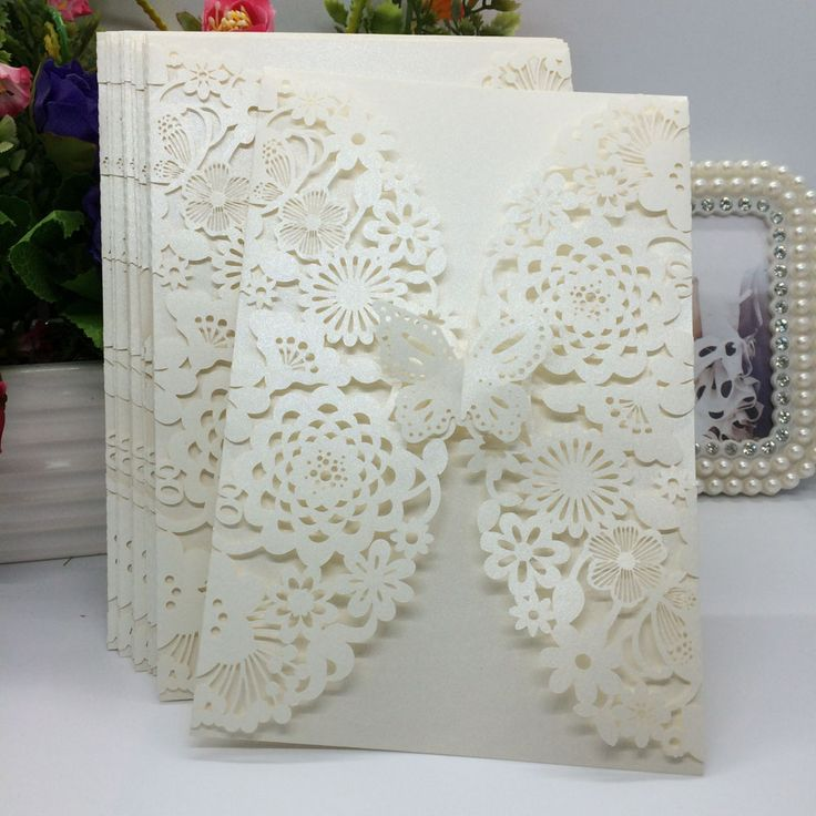 20Pcs Delicate Carved Butterlies Romantic Wedding Party Invitation Card - Wedding Look
